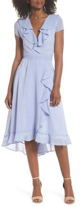 Gabby Skye Stripe Faux Wrap Dress
