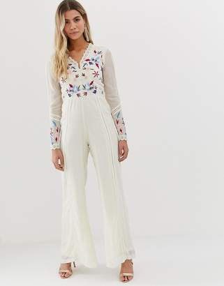 7cbec3895565 Frock And Frill button front wide leg jumpsuit in bird and sequin embroidery  in cream