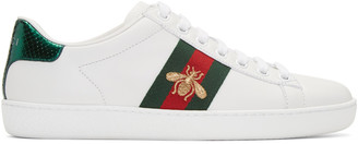Gucci White Leather Bee Stripe New Ace Sneakers $595 thestylecure.com
