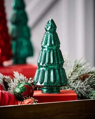 Mercury-Glass Green Leaf Tabletop Christmas Tree, Small