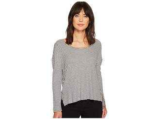 7c9ee2d9ac9288 at 6pm.com · Vince Camuto Long Sleeve Side Tie Drapey Stripe Knit Top  Women s Long Sleeve Pullover