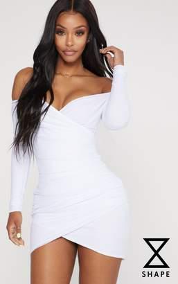 PrettyLittleThing Shape White Mesh Ruched Bardot Bodycon Dress