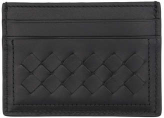 Bottega Veneta Black Intrecciato Four Card Holder