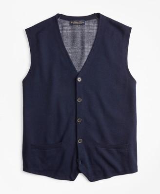 Brooks Brothers Washable Merino Wool Plaid Back Waistcoat