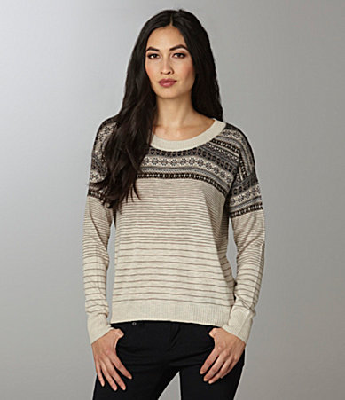Kensie Striped Fair Isle Sweater