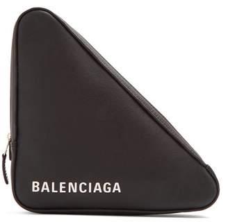 Balenciaga Triangle Pochette M Leather Clutch - Womens - Black White