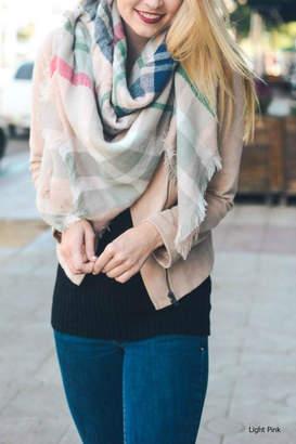Leto Plaid-Pink Blanket Scarf