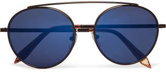 Round-frame Metal Mirrored Sunglasses - Black
