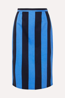 Prada Striped Denim Midi Skirt - Blue