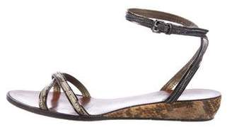 Lanvin Embossed Leather Flat Sandals