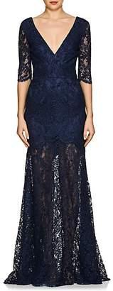 Sophia Kah Women's Floral Cotton-Blend Lace Gown - Navy