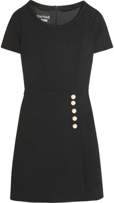 Boutique Moschino - Faux Pearl-embellished Wool-crepe Mini Dress - Black $795 thestylecure.com