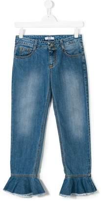 MSGM TEEN flared ruffle jeans