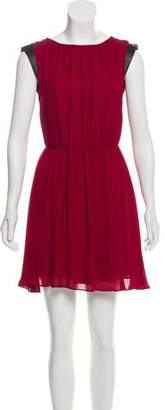 Alice + Olivia Leather-Trimmed Silk Dress