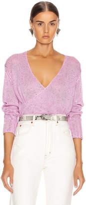 Mason by Michelle Mason Cross Wrap Sweater in Bubblegum   FWRD