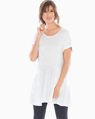 Slub Terry Short Sleeve Peplum Tunic Bright White