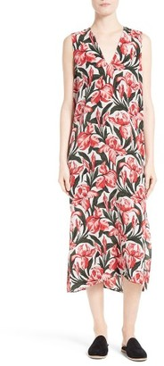 Women's Equipment Connery Print Silk Midi Dress $318 thestylecure.com
