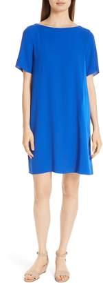 Eileen Fisher Bateau Neck Silk Dress