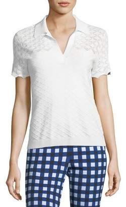 St. John Eyelet Knit Short-Sleeve Polo Top
