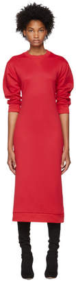 Tibi Red Open Back Sweatshirt Dress