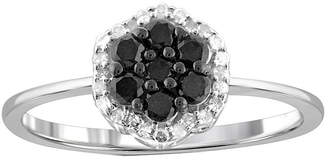 Black Diamond FINE JEWELRY 1/2 CT. T.W. White & Color-Enhanced Cluster Sterling Silver Ring
