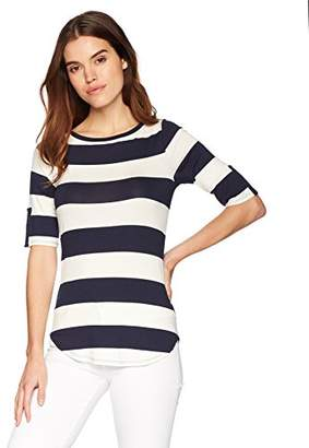 Three Dots Women's South Hampton Stripe Mid Tight Shirt