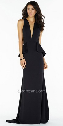 Alyce Paris Illusion Plunging Keyhole Back with Peplum Evening Dress $190 thestylecure.com