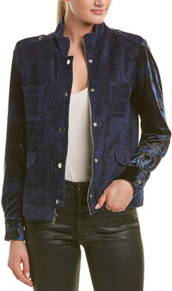 DREW Long Sleeve Stud Detail Velvet Jacket