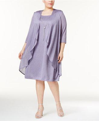 R & M Richards Plus Size Shimmer Draped Jacket Dress $99 thestylecure.com