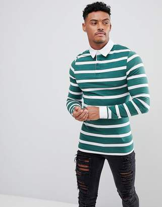 Asos DESIGN Muscle Long Sleeve Stripe Rugby Polo