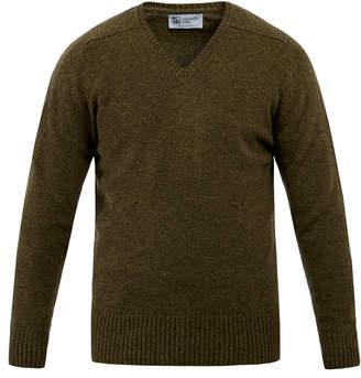 Johnstons of Elgin Moss Green V-Neck Cashmere Sweater