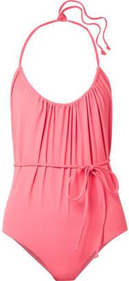 Lisa Marie Fernandez Charlotte Belted Stretch-crepe Halterneck Swimsuit - Pink