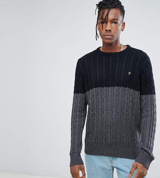 Farah Ludwig Twisted Yarn Cable Knit Sweater in Black