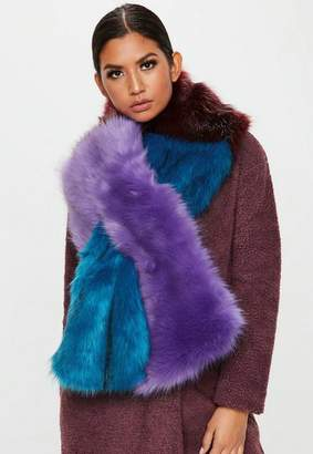 Missguided Colour Block Faux Fur Shawl