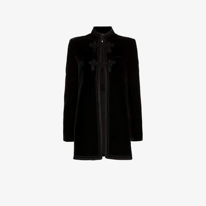 tasselled mandarin collar silk jacket