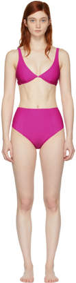 Fleur Du Mal Pink Front Closure Plunge High Waist Bikini