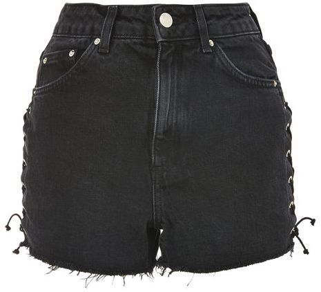 Topshop Topshop Moto lattice side mom shorts