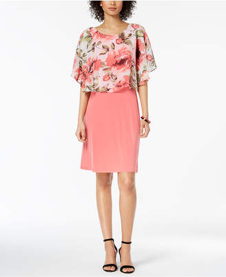 Connected Floral-Print Capelet Dress