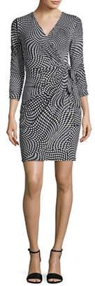 INC International Concepts Petite Dotted Mock-Wrap Dress