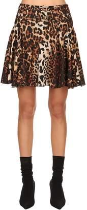 We11 Done Leopard Printed Satin Mini Skirt