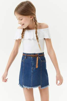 Forever 21 Girls Step-Hem Denim Skirt (Kids)