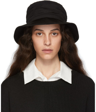 Y's Ys Black Crepe de Chine Gathered Hat