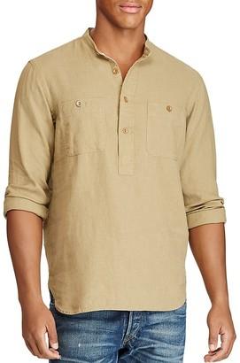Polo Ralph Lauren Linen Cotton Utility Classic Fit Popover Shirt $145 thestylecure.com