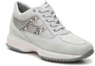 Women's Final Sale - Hogan Suede Lace-Up Sneaker -Taupe $445 thestylecure.com