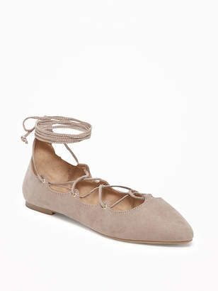 Sueded Lace-Up Ghillie Flats for Women $26.99 thestylecure.com