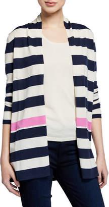 Neiman Marcus Superfine Cashmere-Blend Striped Colorblock Cardigan