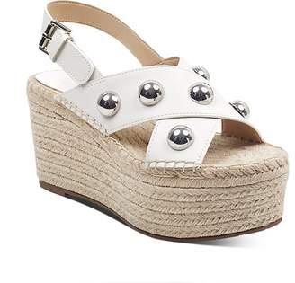 Marc Fisher Women's Rella Leather Embellished Platform Wedge Espadrille Sandals