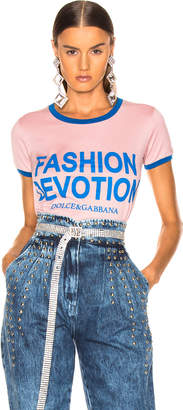 Dolce & Gabbana Fashion Devotion Ringer Tee in Light Pink & Blue | FWRD
