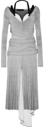 Proenza Schouler Asymmetric Layered Ribbed-Knit And Stretch-Silk Midi Dress