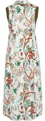 Alberta Ferretti Ribbed Knit-paneled Pintucked Printed Silk Shirt Dress